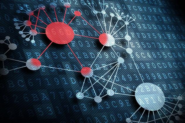 Representación gráfica de un virus informático pasando de ordenador a ordenador sin el consentimiento de los usuarios