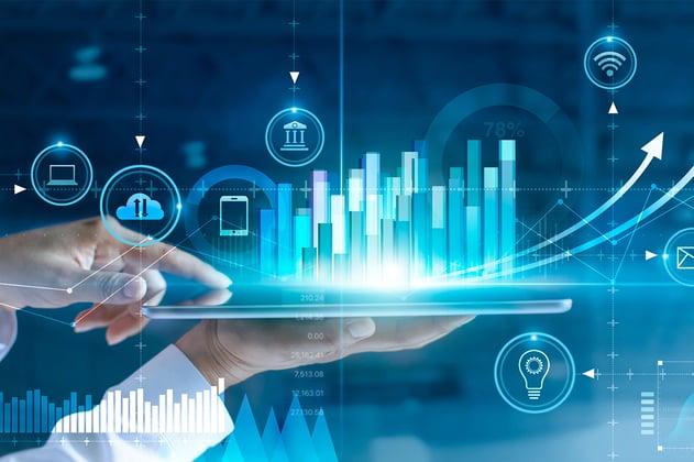 Tableta mide y muestra el progreso económico de una empresa