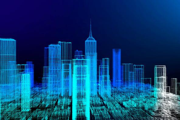 Representación gráfica de una ciudad digitalizada.
