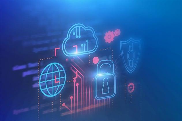 Representación de ciberseguridad abarcando recursos de la nube y conexiones a internet