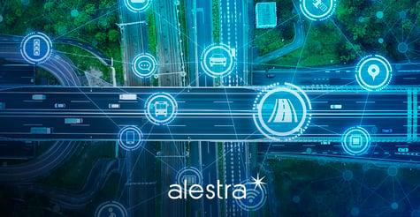 Representación gráfica de una autopista controlada y señalada digitalmente.
