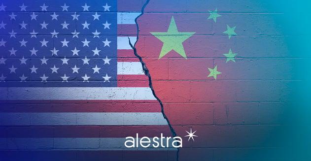 Representación del conflicto comercial actual entre China y Estados Unidos, sus repercusiones se sienten en el mundo de la tecnología.