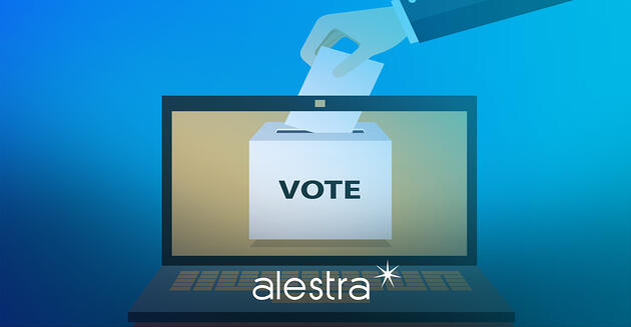 Concepto gráfico de votación en línea que demuestra la importancia de la ciberseguridad en las elecciones